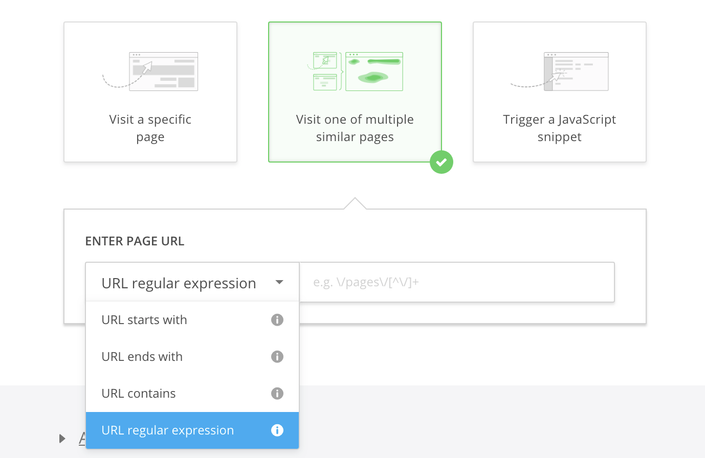 how to target multiple pages using regular expressions hotjar